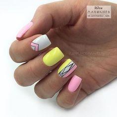 Ideas For Nails Yellow Neon Glitter Mauve Nails, Neon Nails, Pink Nails, Yellow Nails Design, Yellow Nail Art, Pink Yellow, Hair And Nails, My Nails, Nail Manicure