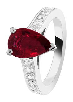 Van Cleef & Arpels Pushkar Solitaire in platinum, set with round diamonds and a 2.06ct pear-shaped ruby.