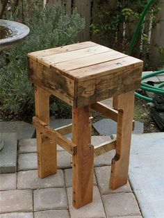 Pallet stool, night stand and end table.
