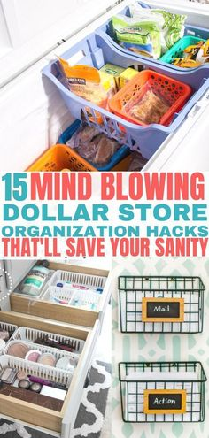 15 Mind Blowing Dollar Store Organization Hacks - Balancing Bucks Save your sanity with these easy Dollar Tree organization ideas! Organisation Hacks, Small Office Organization, Dollar Tree Organization, Organizing Hacks, Craft Organization, Bathroom Organization, Clutter Organization, Office Storage, Organising