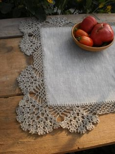 Linen table runner Lace tablecloth Small linen run Crochet Lace Edging, Crochet Doilies, Crochet Patterns, Rustic Table Runners, Lace Runner, Place Mats Quilted, Crochet Table Runner, Tablecloth Fabric, Linens And Lace
