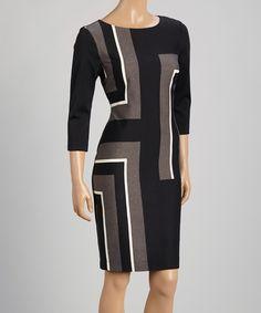 Danny & Nicole Navy & Charcoal Color Block Bodycon Dress - Women & Plus   zulily
