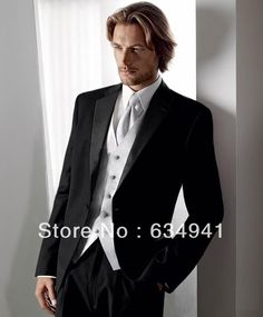 Custom Made Groom Tuxedos Light Grey Side Slit Best man Suit ...
