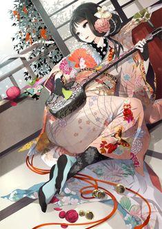 anime girl in kimono playing samisen