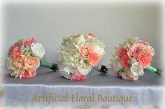 Mixed Bridal Bouquet White Rose Dahlia Cabbage Peony Pink Peach Coral  cakepins.com