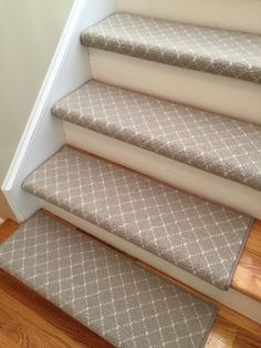 Luxury Distinctive Slate Blue New Zealand Wool TRUE Bullnose™ Padded Carpet Stair Tread Runner Replacement Comfort Safety (Sold Each) Grey Carpet Hallway, Beige Carpet, Wall Carpet, Bedroom Carpet, Modern Carpet, Basement Carpet, Carpet Decor, Cheap Carpet, Living Room Ideas
