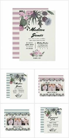 Wedding   Thistle Wild Flowers Unique Invitations