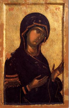 The Virgin (from the Deesis) Century: XIV Storage Location: Katholikon Hilandar Monastery, Mount Athos Size: 98.5 x 64 cm