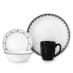 Corelle® Livingware™ Black & White Mix and Match Set Dinnerware Set Corelle Dinner Set, Corelle Sets, Corelle Plates, Tableware, White Dinnerware, Dinnerware Sets, Clean Plates, Porcelain Mugs, Stoneware Mugs