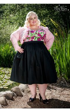Pinup Couture - Jenny Gathered Full Skirt in Black Sateen - Plus Size | Pinup Girl Clothing