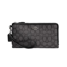 Coach Double Zip Wallet In Signature Fabric (Silver/Black Smoke/Black)