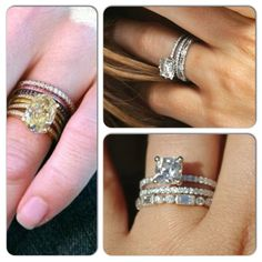 Stacked wedding rings. Love this idea.