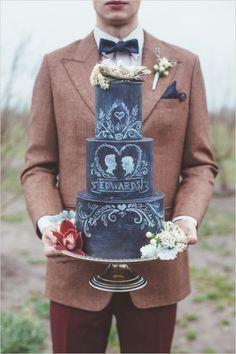 Chalkboard grooms wedding cake ideas. Captured By: Hazelwood Photo #weddingchicks http://www.weddingchicks.com/2014/06/18/give-the-groom-a-real-cake/