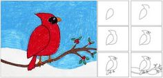 Art Projects for Kids: Winter Cardinal... Look, Ann did this with her kids :)