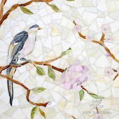 Chinoiserie handmade mosaic in Emerald, Tourmaline, Labradorite, Opal, Tiger's Eye, Amber, Peridot, Champagne, Rose Quartz, and Pearl jewel glass with Quartz Sea Glass™, is part of the Sea Glass™ Collection by Sara Baldwin for New Ravenna