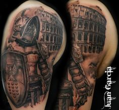 What does gladiator tattoo mean? We have gladiator tattoo ideas, designs, symbolism and we explain the meaning behind the tattoo. Skull Tattoos, Forearm Tattoos, Body Art Tattoos, Sleeve Tattoos, Warrior Tattoo Sleeve, Warrior Tattoos, Tattoo Foto, 1 Tattoo, Panzer Tattoo