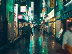 a beautiful rainy evening in Tokyo