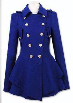 Blue Lapel Long Sleeve Double Breasted Epaulet Coat