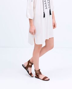 LEATHER ROMAN SANDAL-Shoes-Woman-SHOES & BAGS | ZARA United States