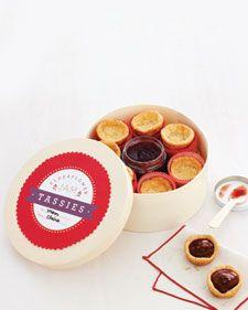 Elderflower Jam Tassies - elderflower liquer jazzes up strawberry jam.  The gift recipient gets to fill the tassies themselves!  Cute edible gift idea.