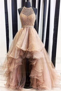 2017 A Line High Low Prom Dresses Beaded Halter Neck Evening Dresses ZPS145