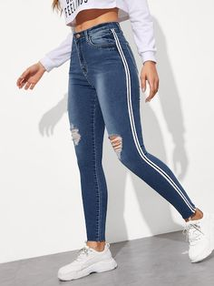 To find out about the Tuxedo Stripe Side Ripped Jeggings at SHEIN, part of our latest Jeans ready to shop online today! Teen Fashion Outfits, Casual Outfits, Cute Outfits, Jeans Fashion, Fashion Black, Matching Outfits, Jean Outfits, Fashion Boots, Ripped Jeggings