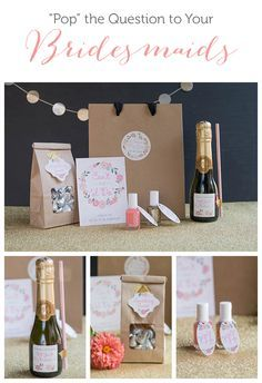 A great bridesmaid proposal idea with champagne, nail polishes to show off wedding colors, treats, and more.   Evermine Weddings   evermine.com