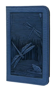 Leather Checkbook Cover | Dragonfly Pond in Sky Blue