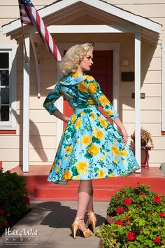 Birdie Dress with Three-Quarter Sleeves in Baby Blue and Yellow Floral Print