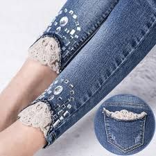jeans with strass ile ilgili görsel sonucu Billedresultat for drill mujer Risultati immagini per drill mujer Recycle upcycled lace inserts on denim ^ Even though summer is winding down, this could be cute for winter peeking out of the top of some cute sh Denim And Lace, Lace Jeans, Sewing Clothes Women, Diy Clothing, Clothes For Women, Diy Jeans, Sewing Jeans, Gilet Jeans, Jeans Pants