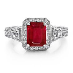 Emerald Cut Ruby and Diamond Ring in Platinum