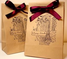 Christmas Kraft Bags-Joyeux Noël-Treat Favor Double by craftypagan