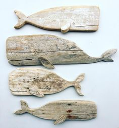 Weathered Driftwood Whales