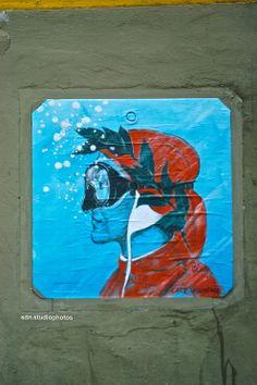 """Il ritratto di Dante Alighieri di Botticelli rivisto da Blub, """"L'arte sa nuotare"""", in Via de' Marsili, Firenze (Toscana, Italy) - by Silvana, aprile 2014"""
