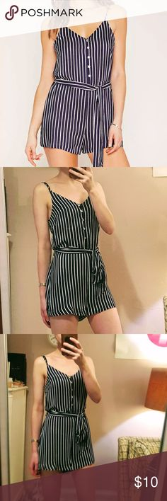 Forever 21 Romper NEW navy and white stripe romper. Super cute and comfortable piece for Summer!!   Front button detail and matching, removable cloth belt with loops for you to easily mix it up with another belt. Forever 21 Pants Jumpsuits & Rompers