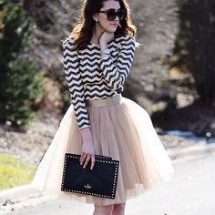 Space 46 coffee tulle skirt, stripe sequin top, Valentino rock studs clutch
