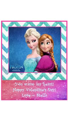 Downloadable (DIY)  Customized Valentines day Disney Frozen Elsa & Anna cards {INSTANT DOWNLOAD} on Etsy, $3.00