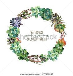 Vector flower wreath of succulents in a watercolor style. Vintage floral wreath. Decorative floral element for design of invitations, covers, notebooks and other items. Floral wreath ?1 - stock vector