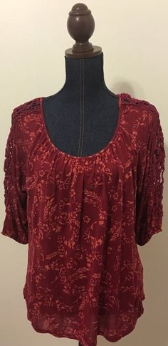 LC Lauren Conrad Womens Size Large L Red Floral Blouse Top Shirt Crochet Sleeve #LCLaurenConrad #Blouse #Casual