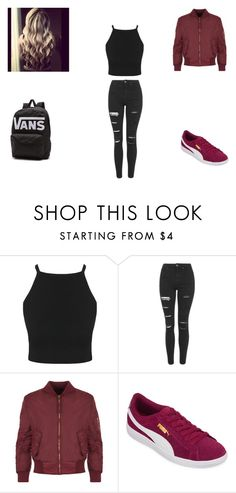"""school looks #1"" by merel-meuleman ❤ liked on Polyvore featuring Topshop, WearAll, Puma and Vans"