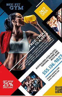 Gym Fitness Free Flyer Template - Demetra J. Fitness Logo, Fitness Flyer, Fitness Design, Gym Fitness, Free Fitness, Family Fitness, Hoist Fitness, Poster Sport, Poster Cars