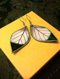 Large Green Dipped Ceramic Leaf Earrings by AlainaSheenDesigns, $24.00