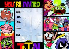 Teen Titans Go Party Invitation Birthday by DailyDigitalDesigns, $6.99