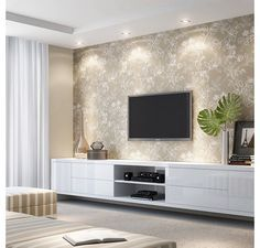 Sala tv. White cabinets with wallpaper and pot lights.
