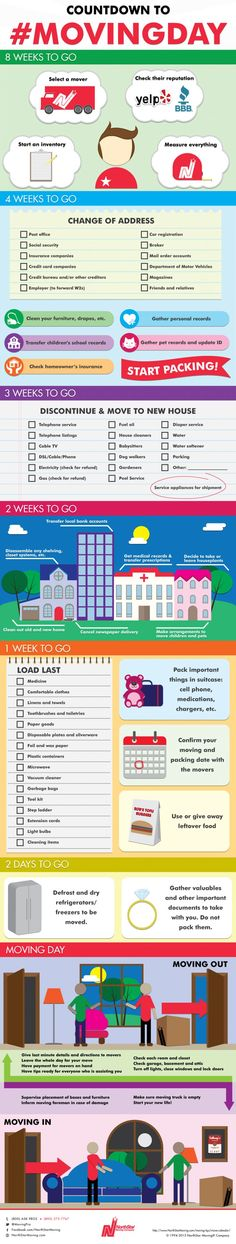 The Ultimate Moving Day Count Down Checklist. Everything you need to know to prepare for an easy moving day.