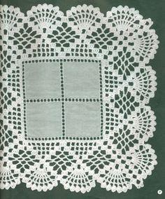 Ravelry: Filetstueck's Handkerchief / hanky in filet-crochet with scalloped edge Crochet Placemats, Crochet Quilt, Crochet Doily Patterns, Crochet Borders, Love Crochet, Filet Crochet, Crochet Motif, Crochet Doilies, Crochet Flowers