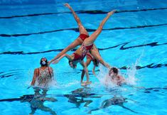 Spain compete in the Synchronized Swimming Team preliminary round on day four of the 15th FINA World Championships at Palau Sant Jordi on July 23, 2013 in Barcelona, Spain.