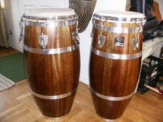 Full restoration of this beautiful set of banded Mahogany Gon Bops, with rare hardware and bleached skins that look stock but sound way better