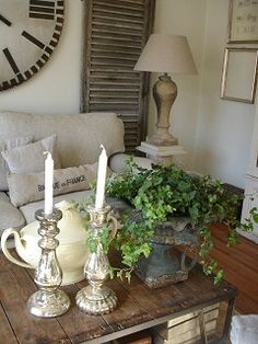 candelabras (mayve on signing table); rich foliage for ceremony
