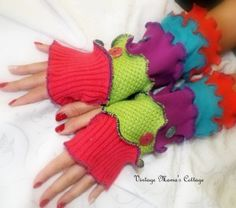 Fingerless gloves / arm warmers from refashioned sweaters at Vintage Mama's Cottage!